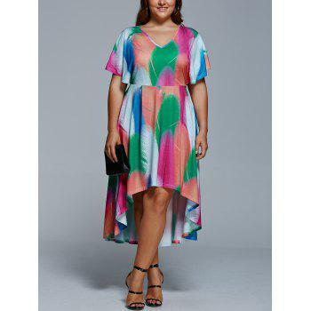Plus Size Feather Print Casual High Low Dress With Sleeve - COLORMIX COLORMIX