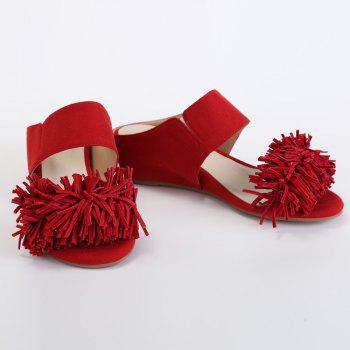 Stylish Fringe and Wedge Heel Design Women's Slippers - 39 39