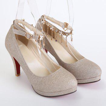 Elegant Ankle Strap and Sequined Cloth Design Pumps For Women - 38 38