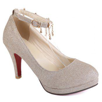 Elegant Ankle Strap and Sequined Cloth Design Pumps For Women - GOLDEN 38