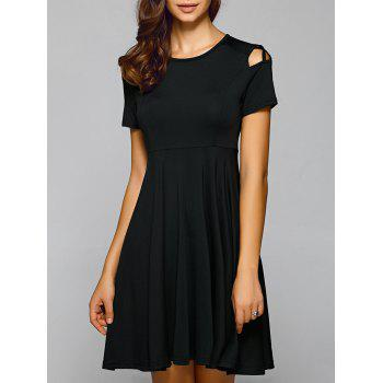 Pleated Cut Out A Line Dress