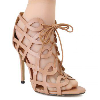 Fashionable PU Leather and Stiletto Heel Design Women's Sandals