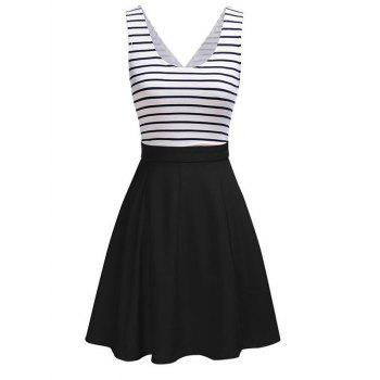 Back Faux Wrap Cutout Stripe Skater Dress