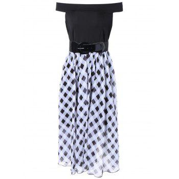 Off The Shoulder Checked Chiffon Dress