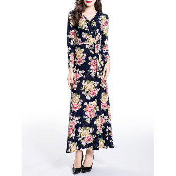 Wrapped Floral Print A-Line Dress