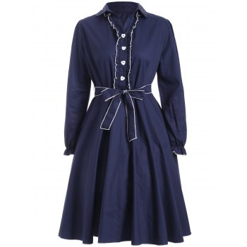 Buttoned Belted Ruffled Fit and Flare Dress