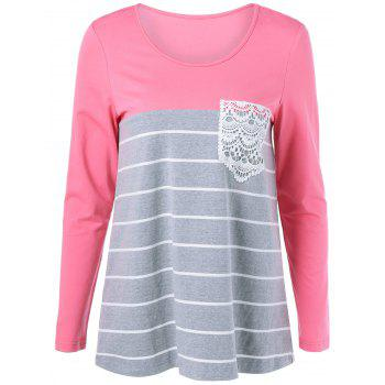 Striped Lace Long Sleeve Tee