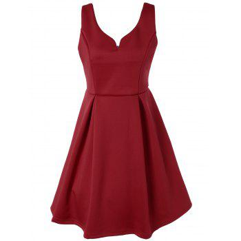 V Neck Fit and Flare Cocktail Dress - RED RED