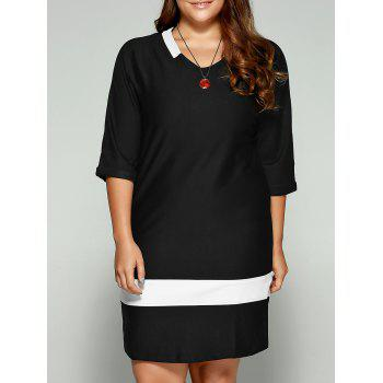 Plus Size Two-Toned Hemming Sleeves Dress