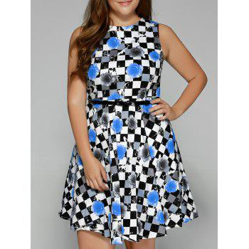 Plus Size Checkered Floral Print Belted Dress