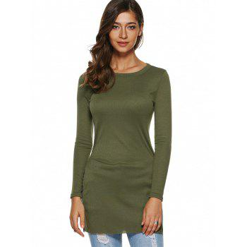 Side Slit Plain Long Sleeve Slimming T-Shirt - ARMY GREEN L