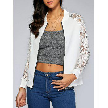 Lace Splicing Zipped Jacket