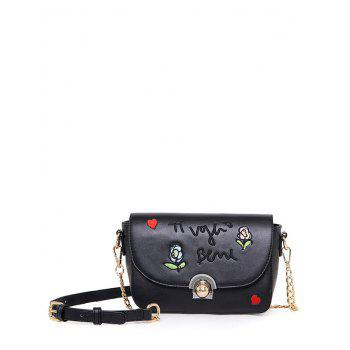 Embroidery and Flowers Design Crossbody Bag