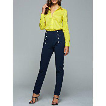 Long Sleeve Shirt and High Waisted Pencil Pants Suit