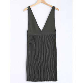 Sleeveless Plunging Neck Pleated Knit Dress