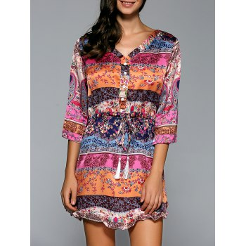 Drawstring Print Mini Dress