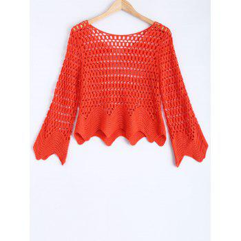 Long Sleeve Hollow Out Crochet Blouse