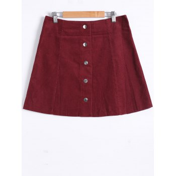 Popper Button Down A Line Skirt