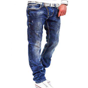 Special Zipper Design Loose Straight Leg Jeans