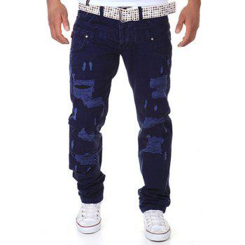 Double-Waist Straight Leg Distressed Cargo Pants