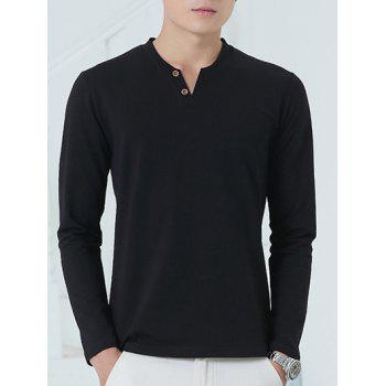 V-Neck Long Sleeve Henley Shirt