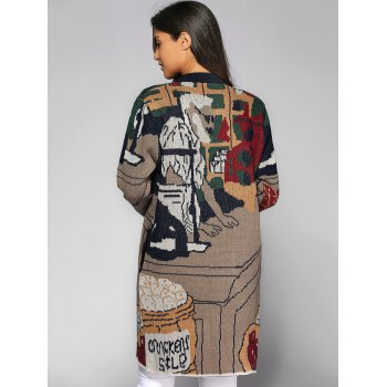 Buttoned Cartoon Pattern Pocket Design Cardigan - COLORMIX ONE SIZE