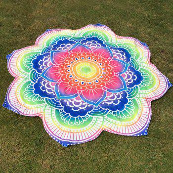 Personality Indian Style Mandala Colorful Flower Polyster Beach Throw BLUE