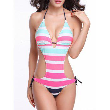 Striped Low Cut Backless Halter Monokini