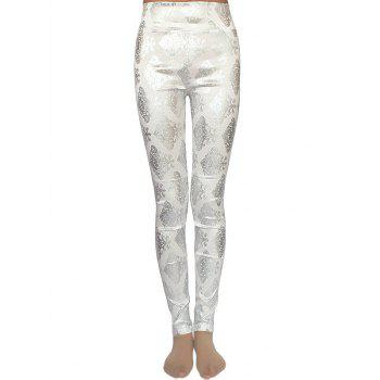 Metallic Ornate Printed Skinny High Waist Leggings