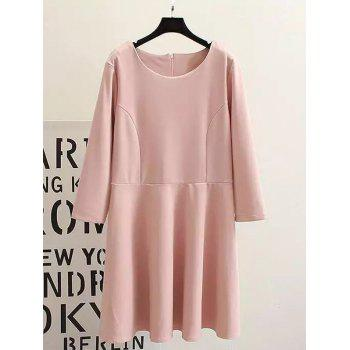 Plus Size Long Sleeves Ruffled Dress