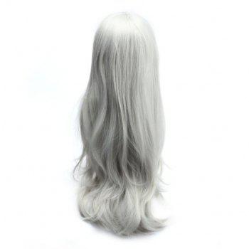 Long Side Bang Slightly Curled Parrucca Piena Cosplay Synthetic Wig - SILVER WHITE