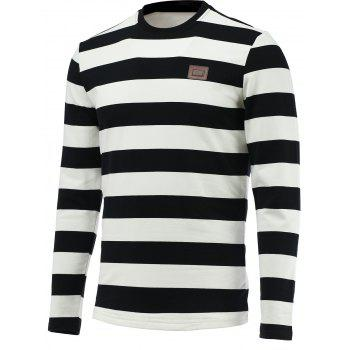 Round Collar Long Sleeves Striped Tee
