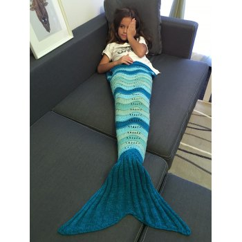 Super Soft Wave Stripe and Openwork Design Knitted Mermaid Blanket - DEEP BLUE DEEP BLUE