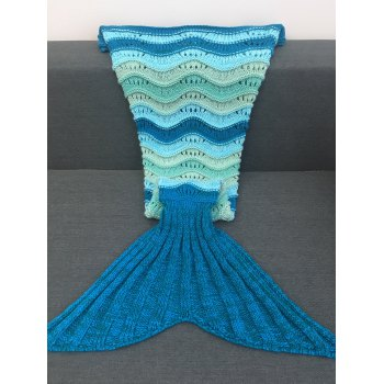 Super Soft Wave Stripe and Openwork Design Knitted Mermaid Blanket -  DEEP BLUE