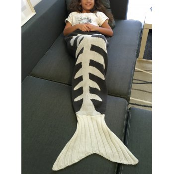 Warmth Knitted Fish Bone Design Mermaid Tail Blanket - L L
