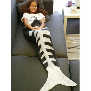 Warmth Knitted Fish Bone Design Mermaid Tail Blanket - M M