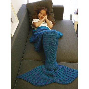 Keep Warm Flounced Design Knitted Mermaid Tail Blanket