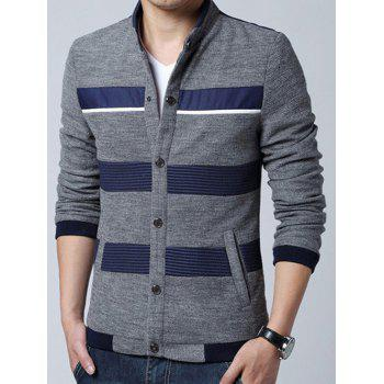 Stand Collar Knit Blends Stripe Splicing Design Cardigan