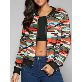 Camouflage Print Zip-Up Jacket