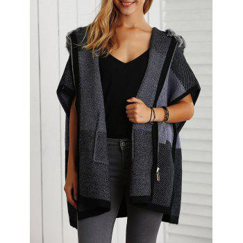 Hooded Fuzzy Woolen Zip-Up Overcoat