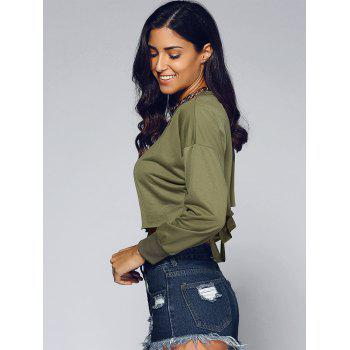 Hollow Out Long Sleeves Crop Top - ARMY GREEN L
