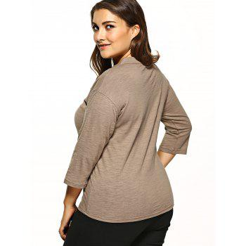 Plus Size V-Neck Tee - Camel 4XL