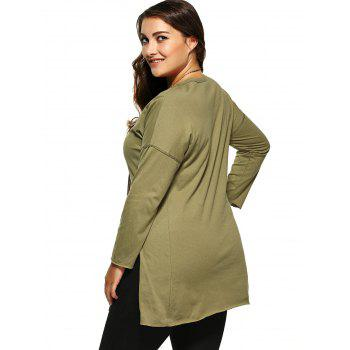 Plus Size Side long T-shirt Slit - Vert Armée 4XL