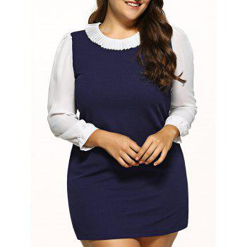 Plus Size Ruff Collar Chiffon Dress