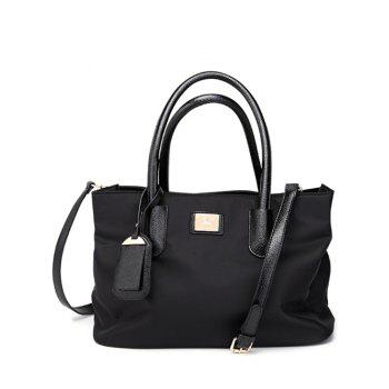 Metal PU Leather Spliced Nylon Tote Bag