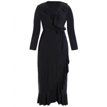 Flounce Long Sleeve Formal Wrap Dress