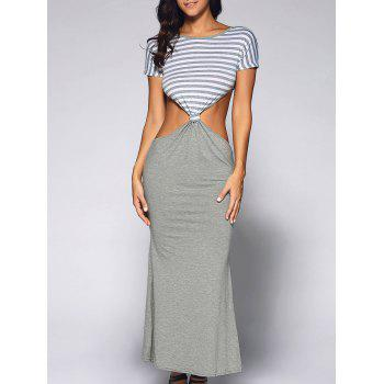 Stripe Pattern Cut Out Backless Maxi Dress