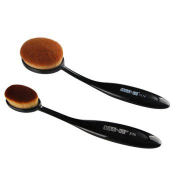 2 Pcs/Set Toothbrush Shape Blush Brush + Foundation Brush - BLACK