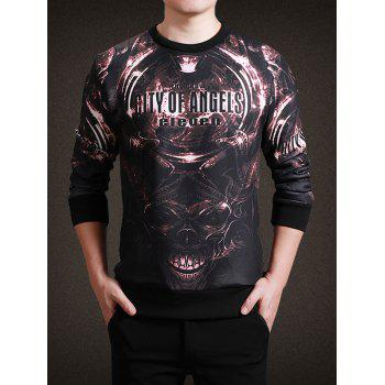 Round Neck Long Sleeve 3D Metal Skull and Letter Print Sweatshirt
