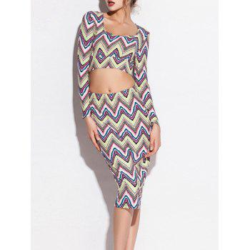 Zigzag Long Sleeve Crop Top and High Waist Skirt Twinset - COLORMIX COLORMIX
